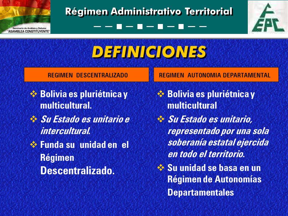 Régimen Administrativo Territorial DEFINICIONES Bolivia es pluriétnica y multicultural. Su Estado es unitario e intercultural. Funda su unidad en el R