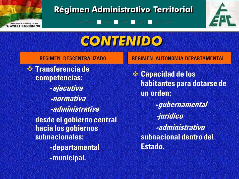 Régimen Administrativo Territorial CONTENIDO Transferencia de competencias: -ejecutiva -normativa -administrativa desde el gobierno central hacia los