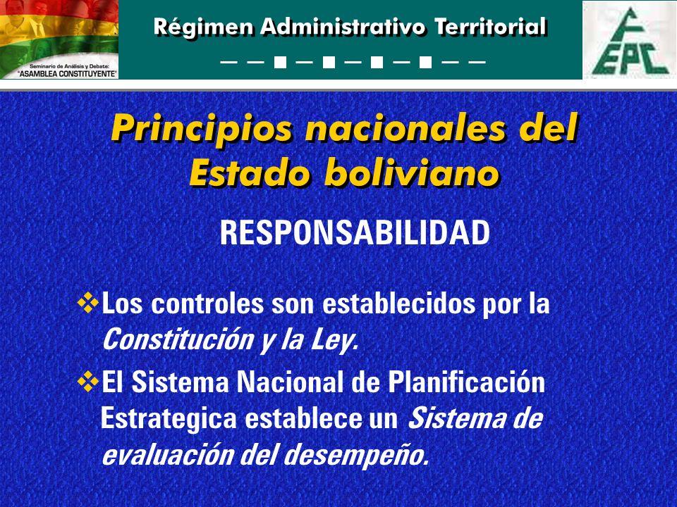 Régimen Administrativo Territorial RESPONSABILIDAD Los controles son establecidos por la Constitución y la Ley. El Sistema Nacional de Planificación E