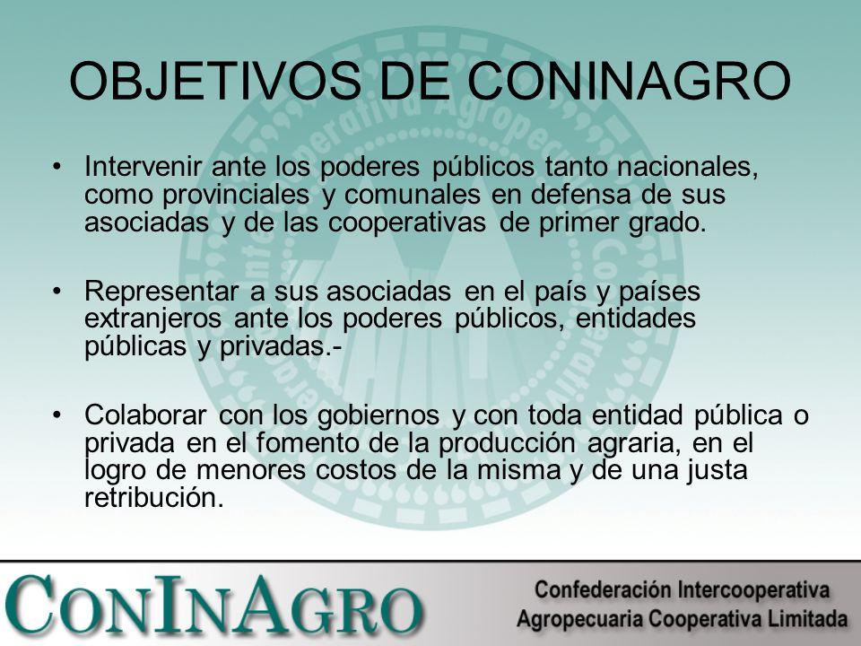 OBJETIVOS DE CONINAGRO Intervenir ante los poderes públicos tanto nacionales, como provinciales y comunales en defensa de sus asociadas y de las cooperativas de primer grado.