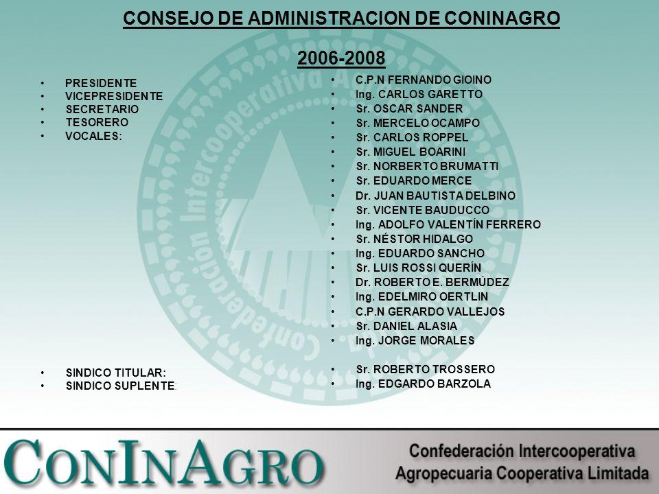 CONSEJO DE ADMINISTRACION DE CONINAGRO 2006-2008 PRESIDENTE VICEPRESIDENTE SECRETARIO TESORERO VOCALES: SINDICO TITULAR: SINDICO SUPLENTE: C.P.N FERNANDO GIOINO Ing.