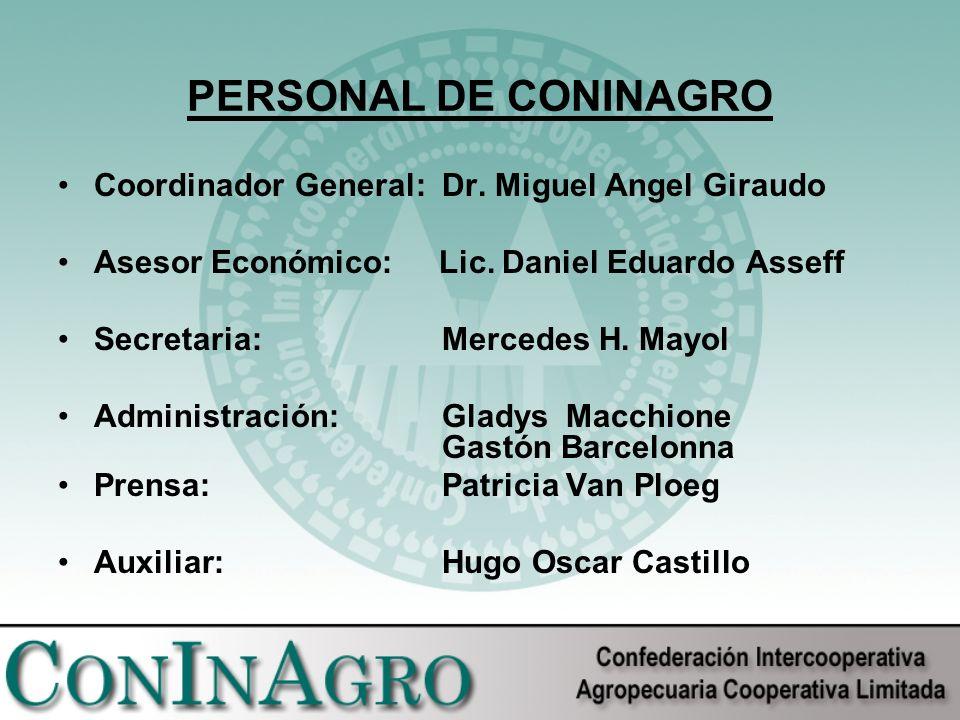 PERSONAL DE CONINAGRO Coordinador General:Dr. Miguel Angel Giraudo Asesor Económico: Lic.