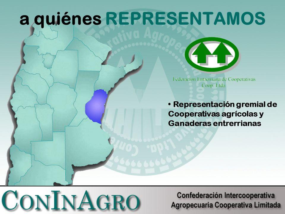a quiénes REPRESENTAMOS Representación gremial de Cooperativas agrícolas y Ganaderas entrerrianas