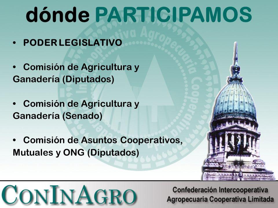 PODER LEGISLATIVO Comisión de Agricultura y Ganadería (Diputados) Comisión de Agricultura y Ganadería (Senado) Comisión de Asuntos Cooperativos, Mutuales y ONG (Diputados) dónde PARTICIPAMOS