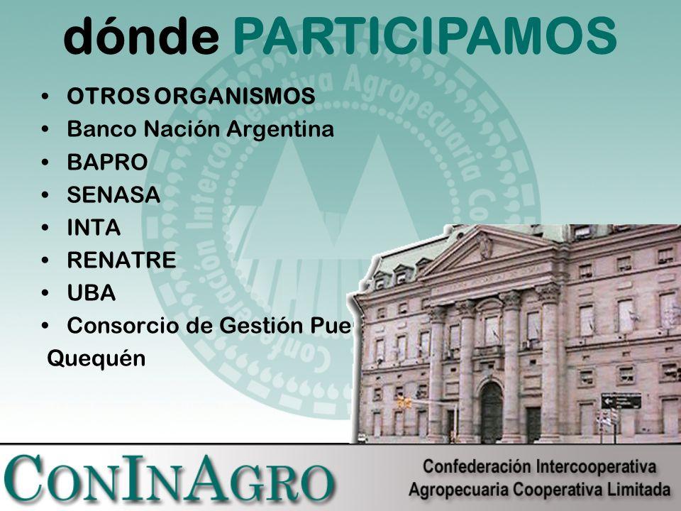 OTROS ORGANISMOS Banco Nación Argentina BAPRO SENASA INTA RENATRE UBA Consorcio de Gestión Puerto Quequén dónde PARTICIPAMOS