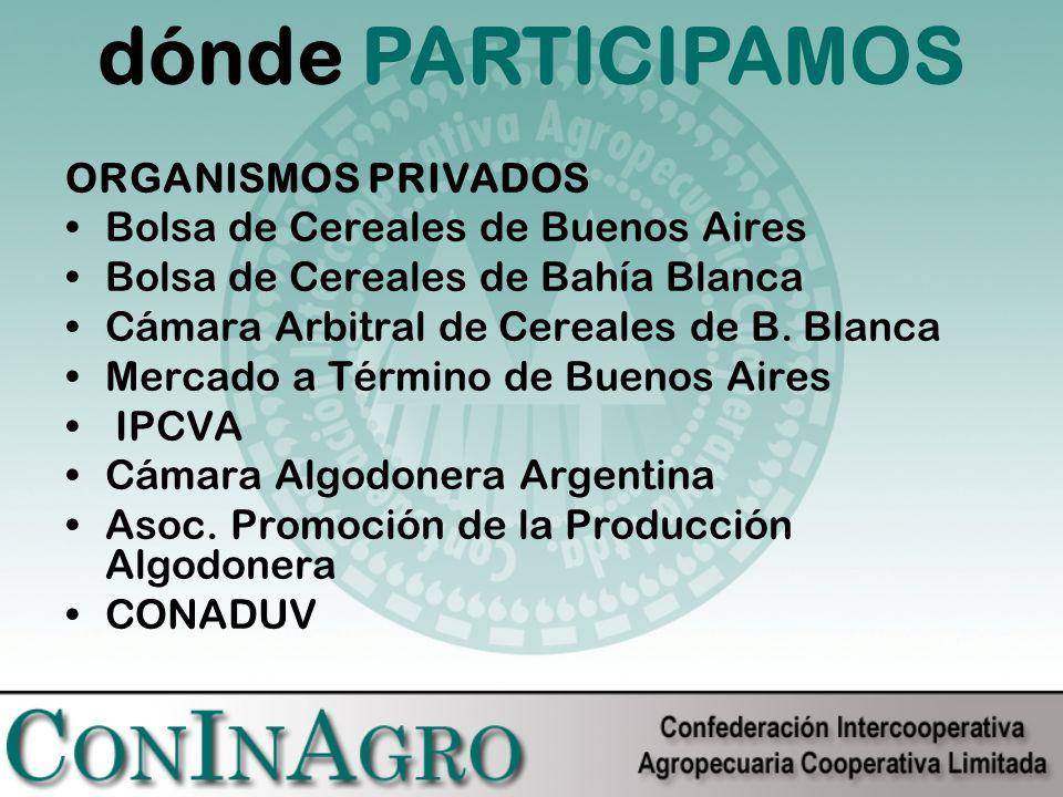 ORGANISMOS PRIVADOS Bolsa de Cereales de Buenos Aires Bolsa de Cereales de Bahía Blanca Cámara Arbitral de Cereales de B.