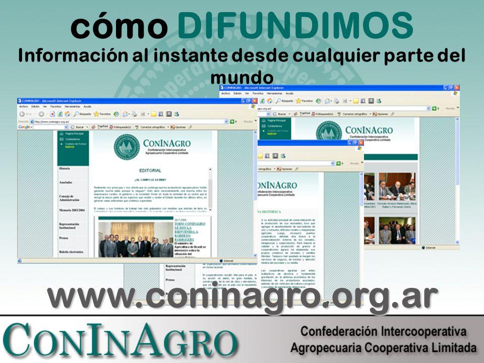 cómo DIFUNDIMOS Información al instante desde cualquier parte del mundo www.coninagro.org.ar