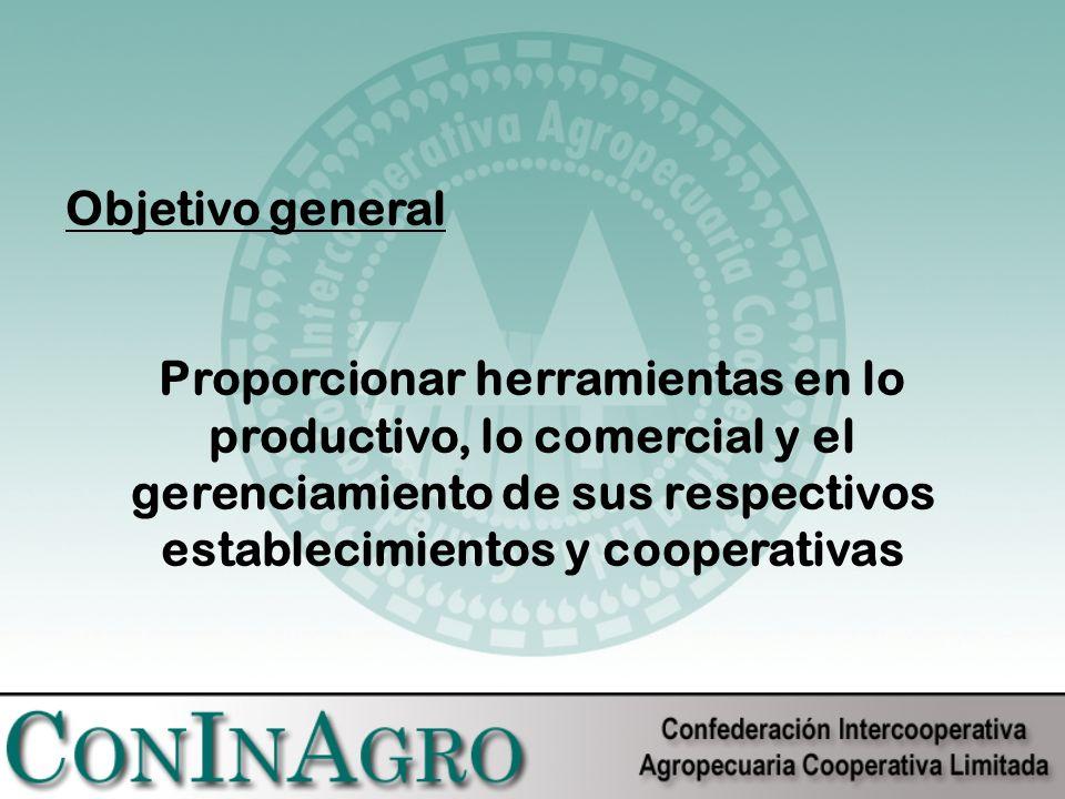 Objetivo general Proporcionar herramientas en lo productivo, lo comercial y el gerenciamiento de sus respectivos establecimientos y cooperativas