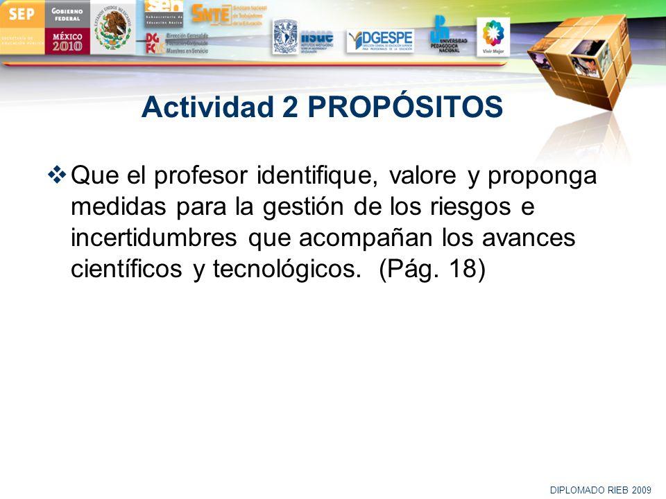LOGO Actividad 2 PROPÓSITOS Que el profesor identifique, valore y proponga medidas para la gestión de los riesgos e incertidumbres que acompañan los a