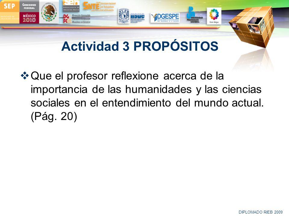 LOGO Actividad 3 PROPÓSITOS Que el profesor reflexione acerca de la importancia de las humanidades y las ciencias sociales en el entendimiento del mun