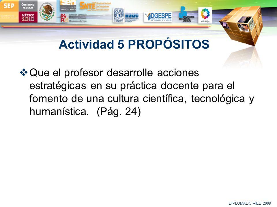 LOGO Actividad 5 PROPÓSITOS Que el profesor desarrolle acciones estratégicas en su práctica docente para el fomento de una cultura científica, tecnoló