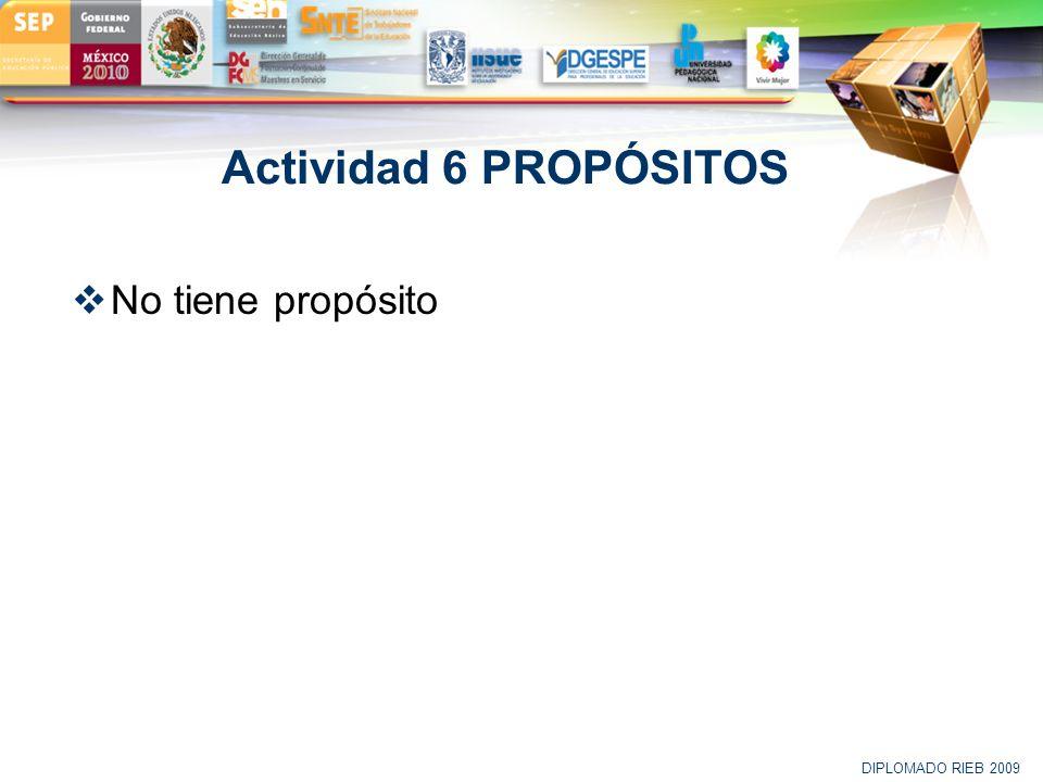LOGO Actividad 6 PROPÓSITOS No tiene propósito DIPLOMADO RIEB 2009