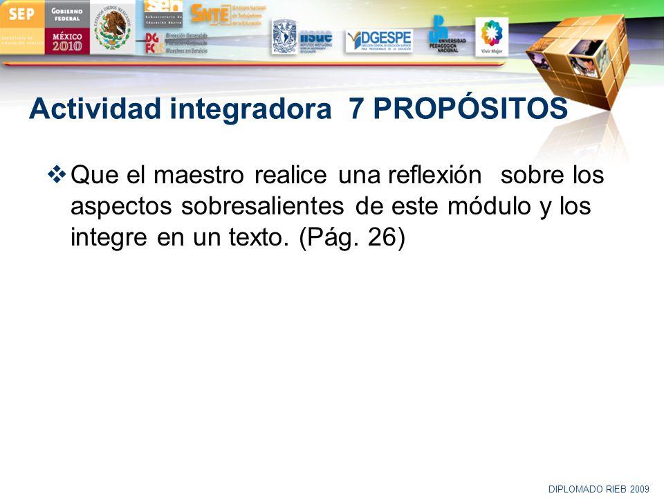 LOGO Actividad integradora 7 PROPÓSITOS Que el maestro realice una reflexión sobre los aspectos sobresalientes de este módulo y los integre en un text