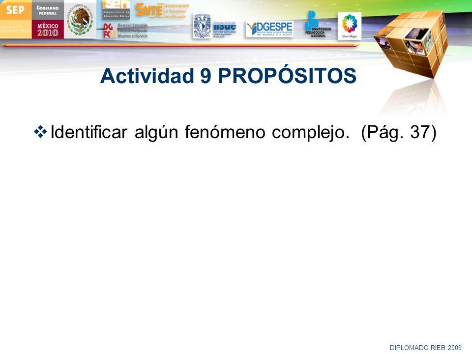 LOGO Actividad 9 PROPÓSITOS Identificar algún fenómeno complejo. (Pág. 37) DIPLOMADO RIEB 2009