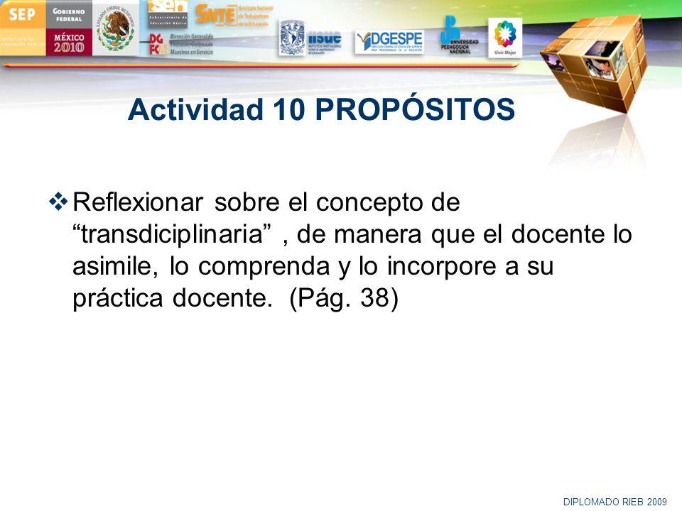 LOGO Actividad 10 PROPÓSITOS Reflexionar sobre el concepto de transdiciplinaria, de manera que el docente lo asimile, lo comprenda y lo incorpore a su
