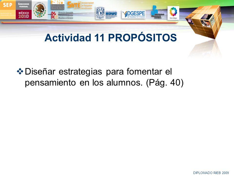 LOGO Actividad 11 PROPÓSITOS Diseñar estrategias para fomentar el pensamiento en los alumnos. (Pág. 40) DIPLOMADO RIEB 2009
