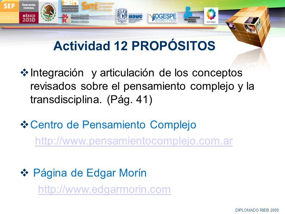LOGO Actividad 12 PROPÓSITOS Integración y articulación de los conceptos revisados sobre el pensamiento complejo y la transdisciplina. (Pág. 41) Centr