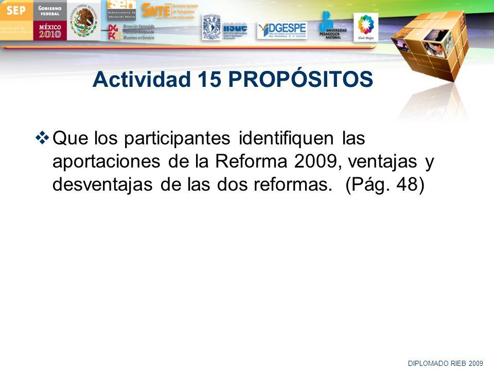 LOGO Actividad 15 PROPÓSITOS Que los participantes identifiquen las aportaciones de la Reforma 2009, ventajas y desventajas de las dos reformas. (Pág.