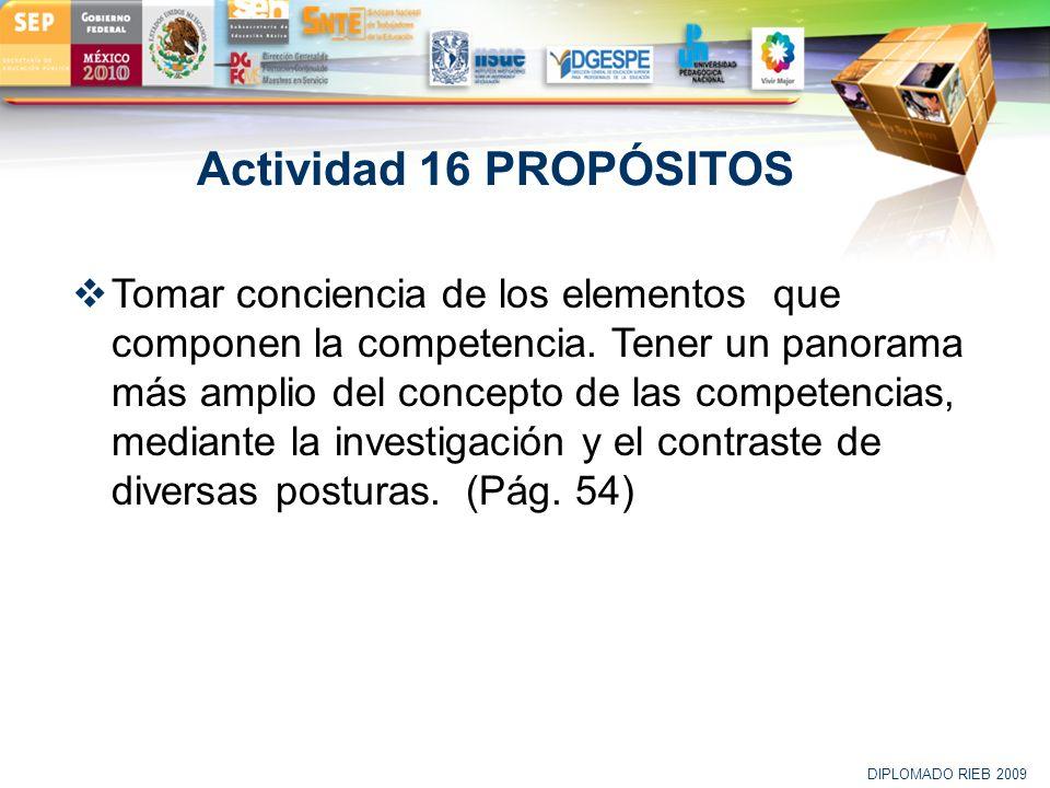 LOGO Actividad 16 PROPÓSITOS Tomar conciencia de los elementos que componen la competencia. Tener un panorama más amplio del concepto de las competenc