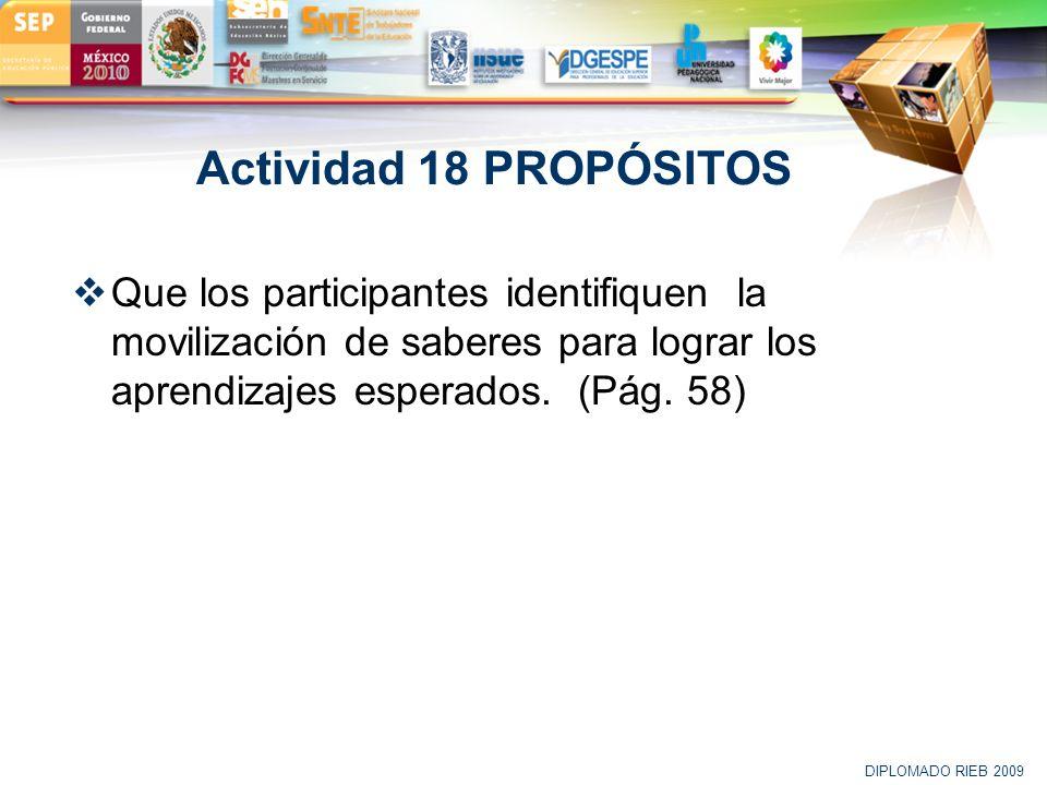 LOGO Actividad 18 PROPÓSITOS Que los participantes identifiquen la movilización de saberes para lograr los aprendizajes esperados. (Pág. 58) DIPLOMADO