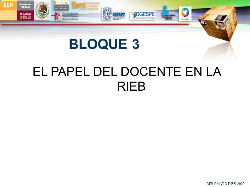 LOGO BLOQUE 3 EL PAPEL DEL DOCENTE EN LA RIEB DIPLOMADO RIEB 2009