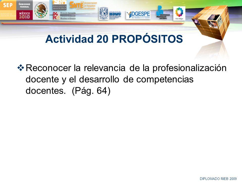 LOGO Actividad 20 PROPÓSITOS Reconocer la relevancia de la profesionalización docente y el desarrollo de competencias docentes. (Pág. 64) DIPLOMADO RI