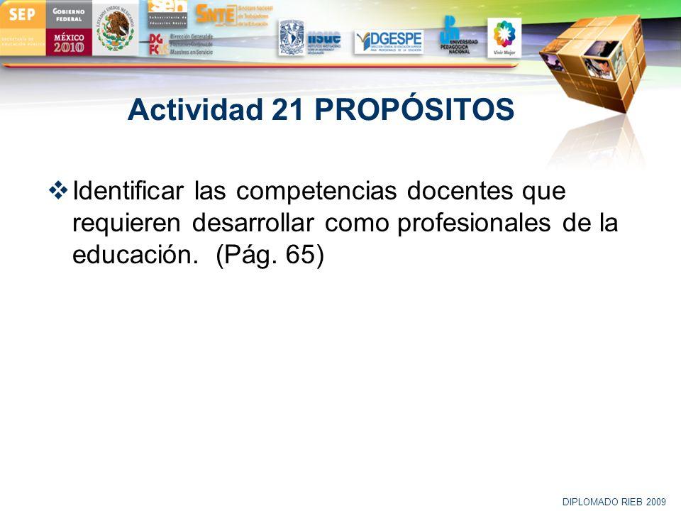 LOGO Actividad 21 PROPÓSITOS Identificar las competencias docentes que requieren desarrollar como profesionales de la educación. (Pág. 65) DIPLOMADO R