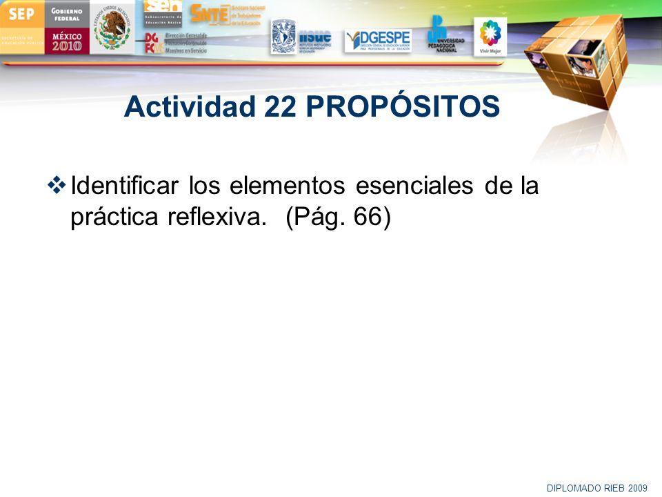 LOGO Actividad 22 PROPÓSITOS Identificar los elementos esenciales de la práctica reflexiva. (Pág. 66) DIPLOMADO RIEB 2009
