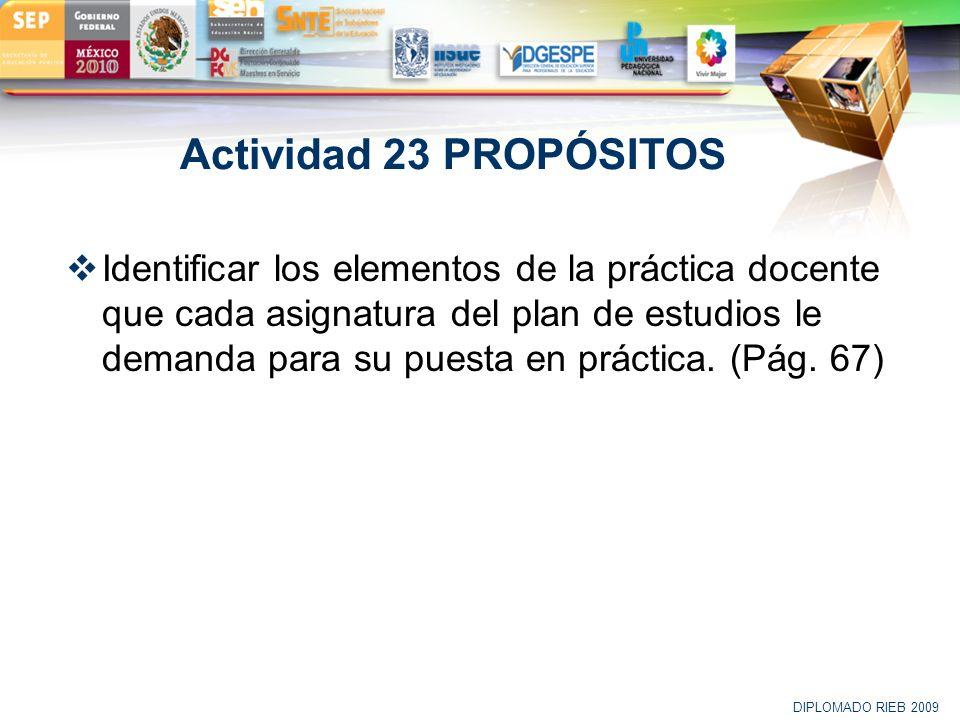 LOGO Actividad 23 PROPÓSITOS Identificar los elementos de la práctica docente que cada asignatura del plan de estudios le demanda para su puesta en pr