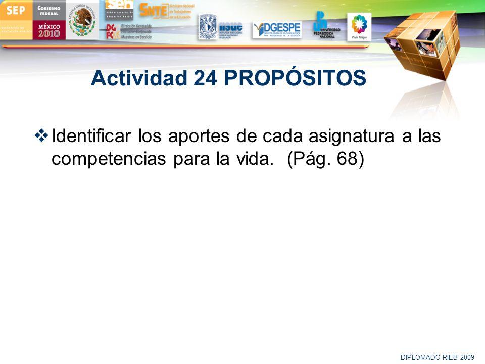 LOGO Actividad 24 PROPÓSITOS Identificar los aportes de cada asignatura a las competencias para la vida. (Pág. 68) DIPLOMADO RIEB 2009