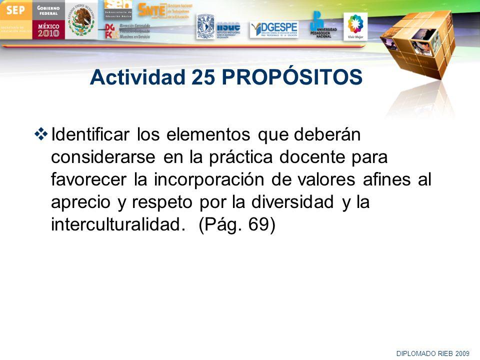 LOGO Actividad 25 PROPÓSITOS Identificar los elementos que deberán considerarse en la práctica docente para favorecer la incorporación de valores afin