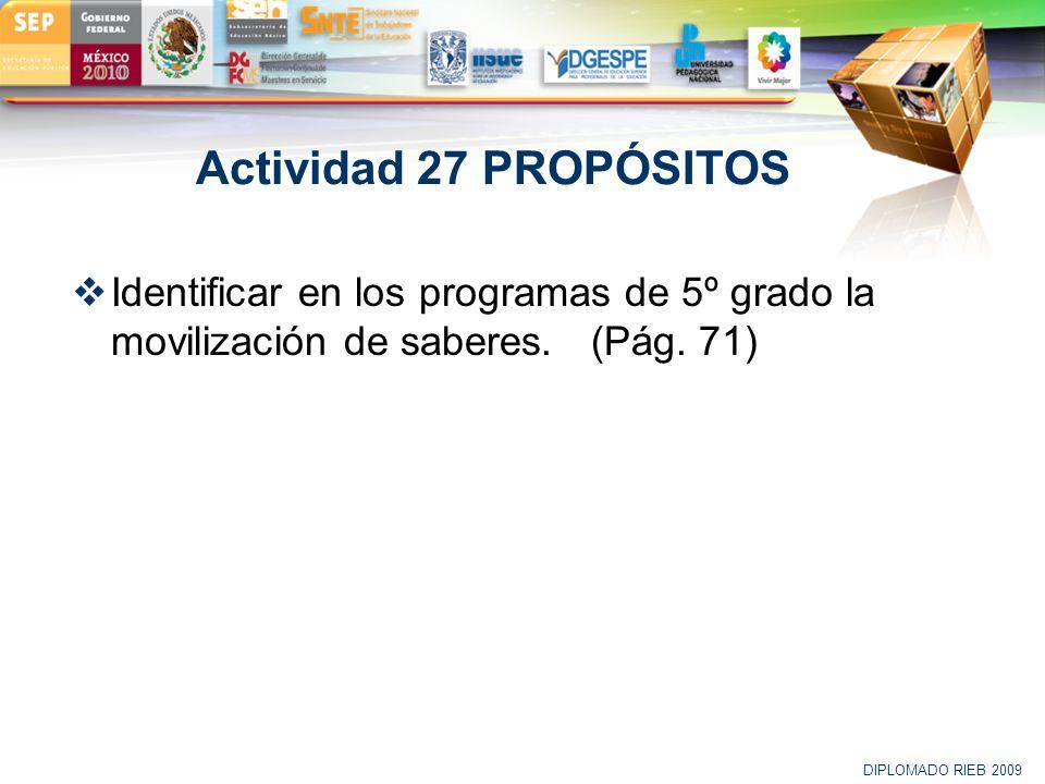 LOGO Actividad 27 PROPÓSITOS Identificar en los programas de 5º grado la movilización de saberes. (Pág. 71) DIPLOMADO RIEB 2009