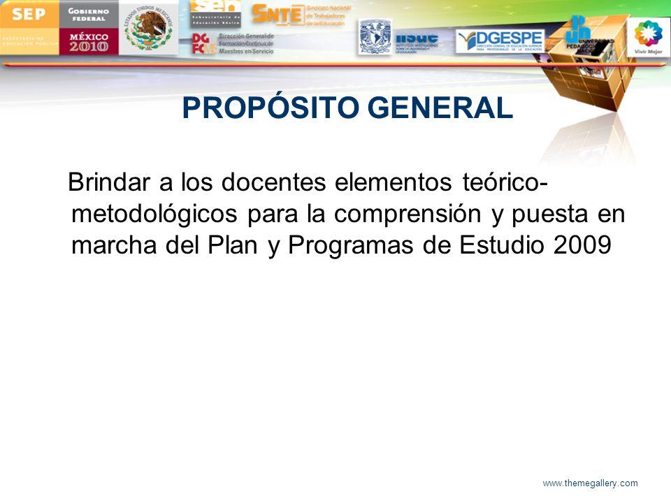 LOGO PROPÓSITO GENERAL Brindar a los docentes elementos teórico- metodológicos para la comprensión y puesta en marcha del Plan y Programas de Estudio