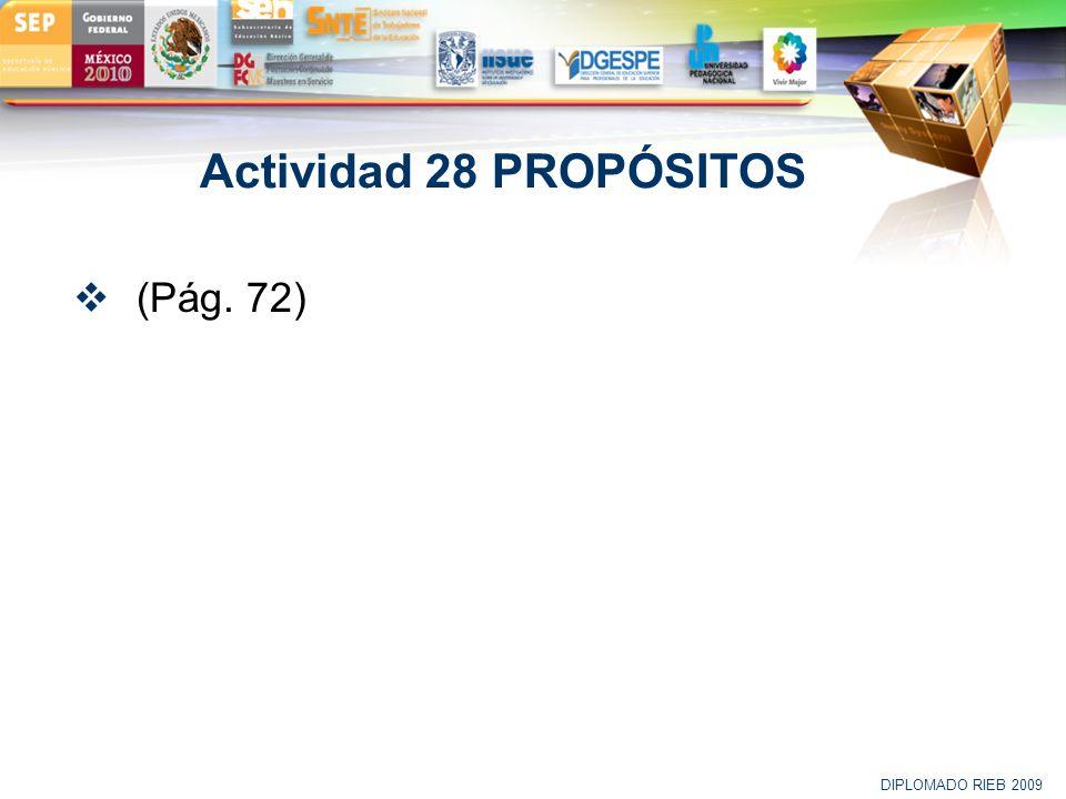LOGO Actividad 28 PROPÓSITOS (Pág. 72) DIPLOMADO RIEB 2009