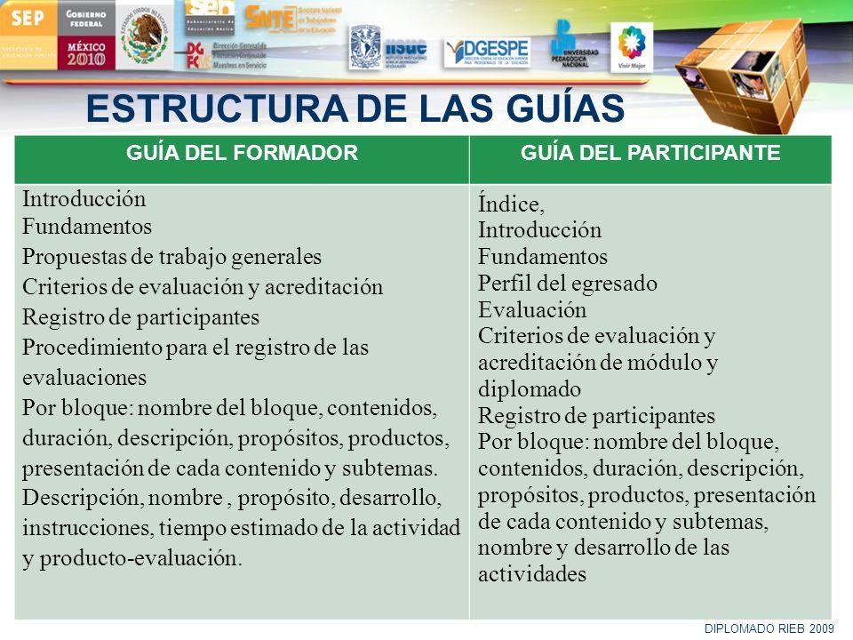 LOGO ESTRUCTURA DE LAS GUÍAS GUÍA DEL FORMADORGUÍA DEL PARTICIPANTE Introducción Fundamentos Propuestas de trabajo generales Criterios de evaluación y