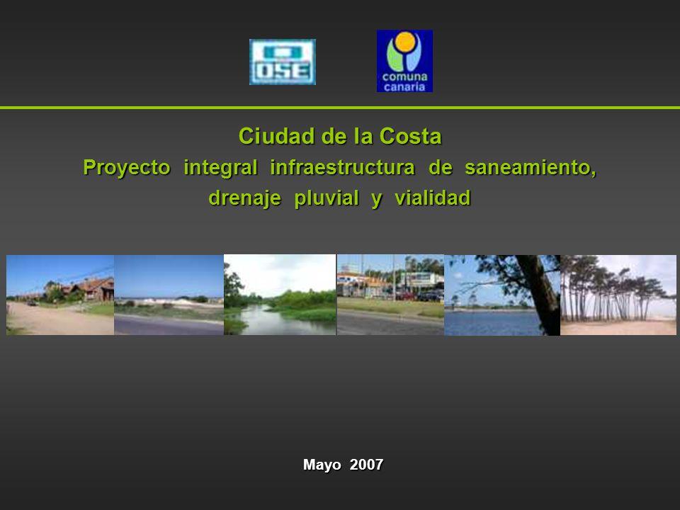 1.Ciudad de la Costa-Escenario actual 2.Proyecto integral infraestructura de saneamiento, drenaje pluvial y vialidad 3.Componente Saneamiento 4.Componente Vialidad 5.Componente Drenaje pluvial 6.Costos de Inversión por componente 7.Cronograma de proyectos y obras 8.Normativa de soporte Índice de la presentación