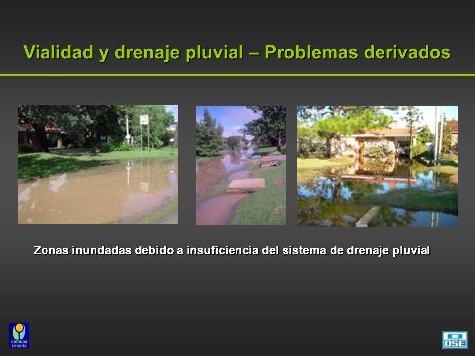 Vialidad y drenaje pluvial – Problemas derivados Zonas inundadas debido a insuficiencia del sistema de drenaje pluvial