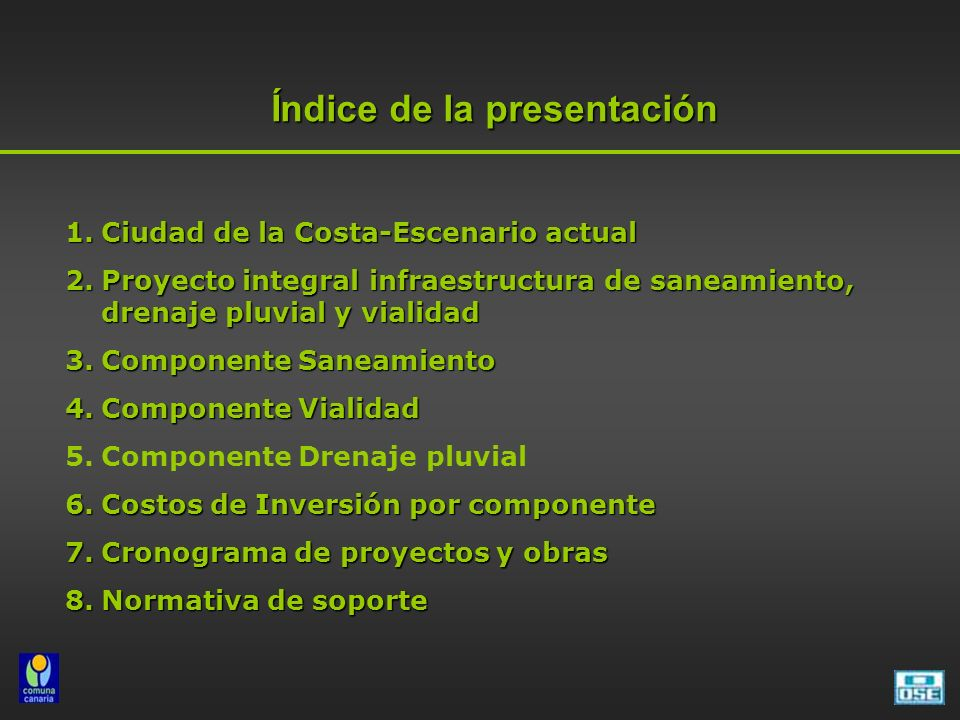 2005- Convenio OSE-IMC se acuerda encarar en forma conjunta el Proyecto de infraestructura de saneamiento, drenaje pluvial y vialidad de Ciudad de la Costa 2005- Convenio OSE-IMC se acuerda encarar en forma conjunta el Proyecto de infraestructura de saneamiento, drenaje pluvial y vialidad de Ciudad de la Costa 2005- Convenio MVOTMA- IMC para la elaboración del Plan de Ordenamiento Territorial-COSTAPLAN 2005- Convenio MVOTMA- IMC para la elaboración del Plan de Ordenamiento Territorial-COSTAPLAN 2005- Convenio MTOP- IMC para el Plan de Emergencia Vial 2005- Convenio MTOP- IMC para el Plan de Emergencia Vial 2005- Convenio FING-IMC a través del IMFIA para el Asesoramiento en Drenaje Pluvial 2005- Convenio FING-IMC a través del IMFIA para el Asesoramiento en Drenaje Pluvial 2005- Convenio FARQ- IMC Programa Becarios 2005- Convenio FARQ- IMC Programa Becarios Antecedentes del Proyecto Integral de infraestructura