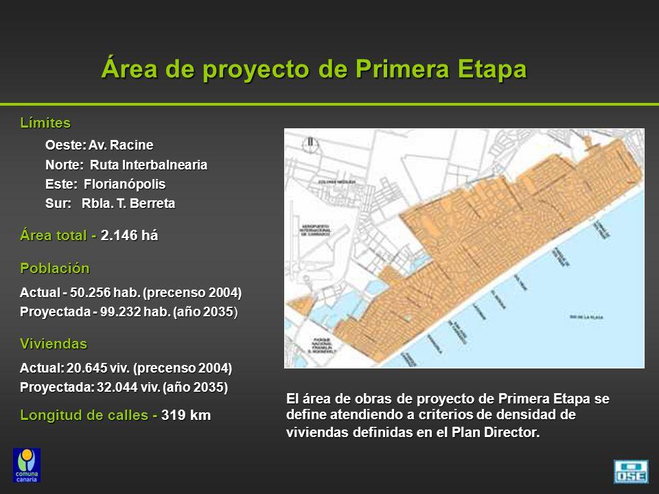 Área de proyecto de Primera Etapa El área de obras de proyecto de Primera Etapa se define atendiendo a criterios de densidad de viviendas definidas en el Plan Director.