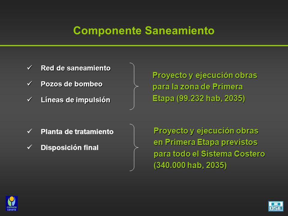 Componente Saneamiento Red de saneamiento Red de saneamiento Pozos de bombeo Pozos de bombeo Líneas de impulsión Líneas de impulsión Planta de tratami