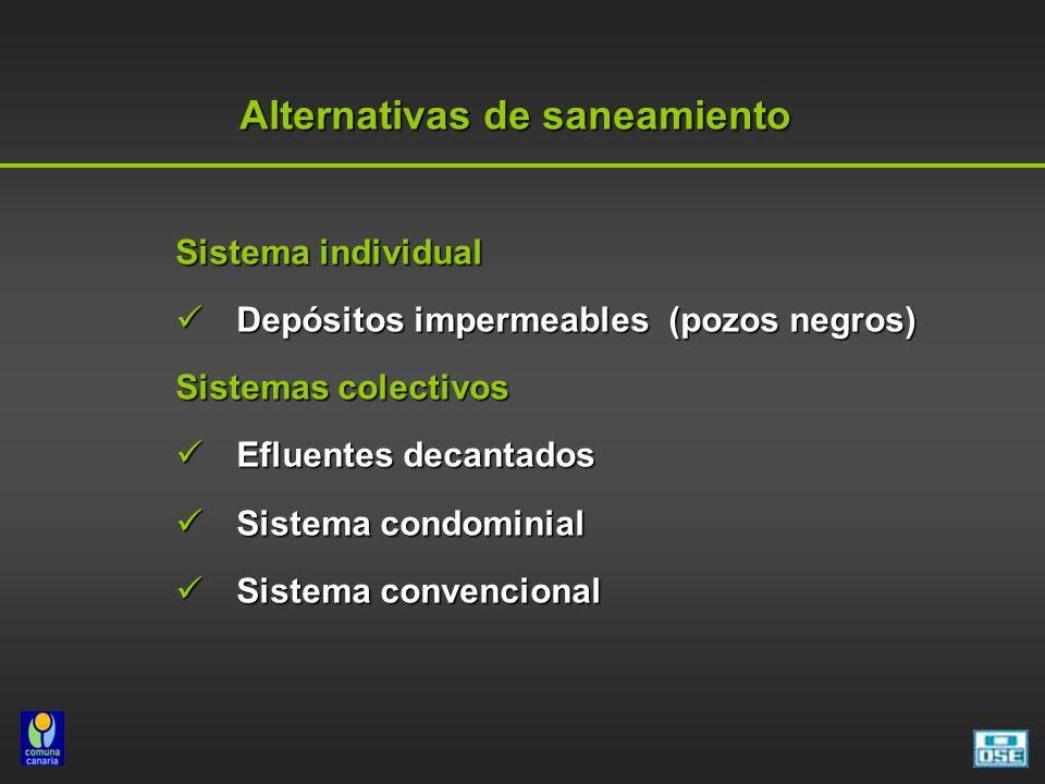 Alternativas de saneamiento Sistema individual Depósitos impermeables (pozos negros) Depósitos impermeables (pozos negros) Sistemas colectivos Efluentes decantados Efluentes decantados Sistema condominial Sistema condominial Sistema convencional Sistema convencional