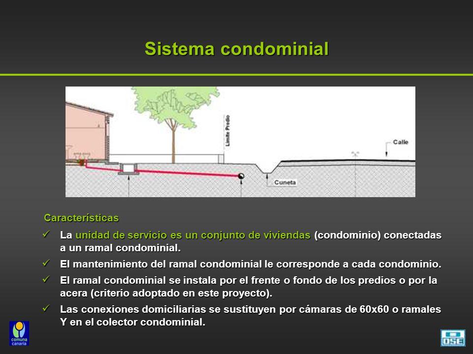 Características Características La unidad de servicio es un conjunto de viviendas (condominio) conectadas a un ramal condominial.