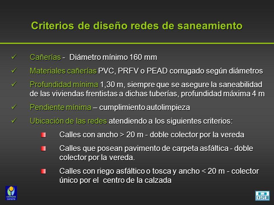 Criterios de diseño redes de saneamiento Cañerías - Diámetro mínimo 160 mm Cañerías - Diámetro mínimo 160 mm Materiales cañerías PVC, PRFV o PEAD corrugado según diámetros Materiales cañerías PVC, PRFV o PEAD corrugado según diámetros Profundidad mínima 1,30 m, siempre que se asegure la saneabilidad de las viviendas frentistas a dichas tuberías, profundidad máxima 4 m Profundidad mínima 1,30 m, siempre que se asegure la saneabilidad de las viviendas frentistas a dichas tuberías, profundidad máxima 4 m Pendiente mínima – cumplimiento autolimpieza Pendiente mínima – cumplimiento autolimpieza Ubicación de las redes atendiendo a los siguientes criterios: Ubicación de las redes atendiendo a los siguientes criterios: Calles con ancho > 20 m - doble colector por la vereda Calles que posean pavimento de carpeta asfáltica - doble colector por la vereda.