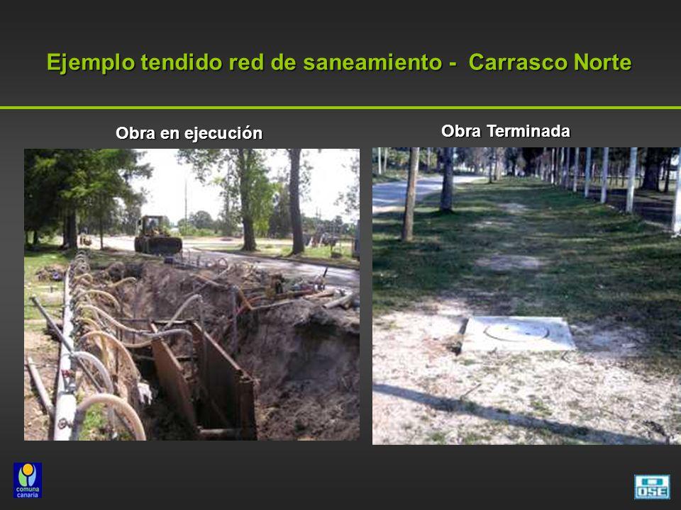 Ejemplo tendido red de saneamiento - Carrasco Norte Obra Terminada Obra en ejecución