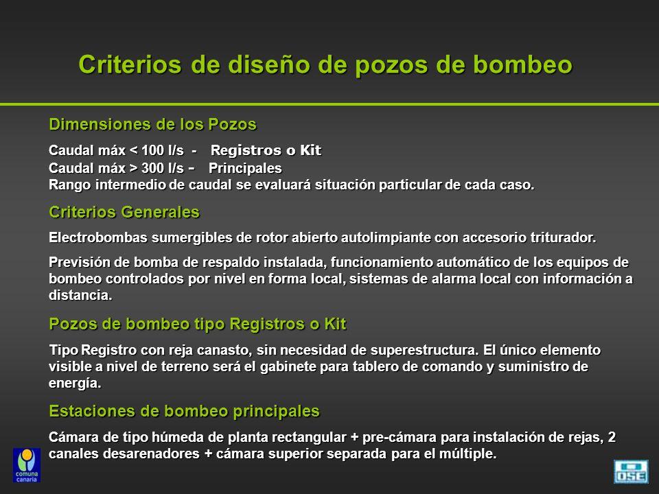 Criterios de diseño de pozos de bombeo Criterios de diseño de pozos de bombeo Dimensiones de los Pozos Caudal máx < 100 l/s - Re gistros o Kit Caudal
