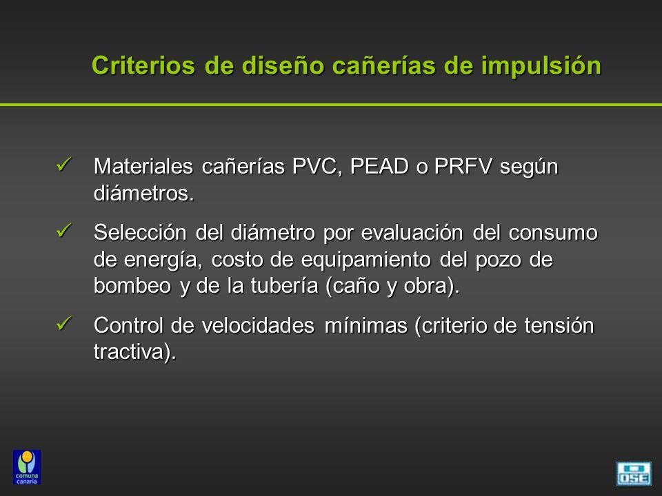 Criterios de diseño cañerías de impulsión Criterios de diseño cañerías de impulsión Materiales cañerías PVC, PEAD o PRFV según diámetros. Materiales c