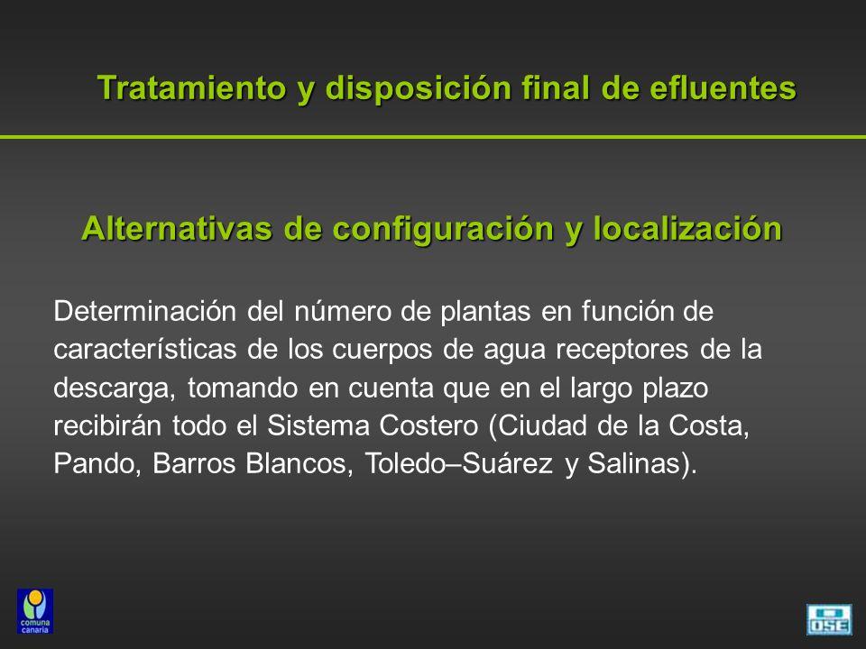Tratamiento y disposición final de efluentes Alternativas de configuración y localización Determinación del número de plantas en función de características de los cuerpos de agua receptores de la descarga, tomando en cuenta que en el largo plazo recibirán todo el Sistema Costero (Ciudad de la Costa, Pando, Barros Blancos, Toledo–Suárez y Salinas).