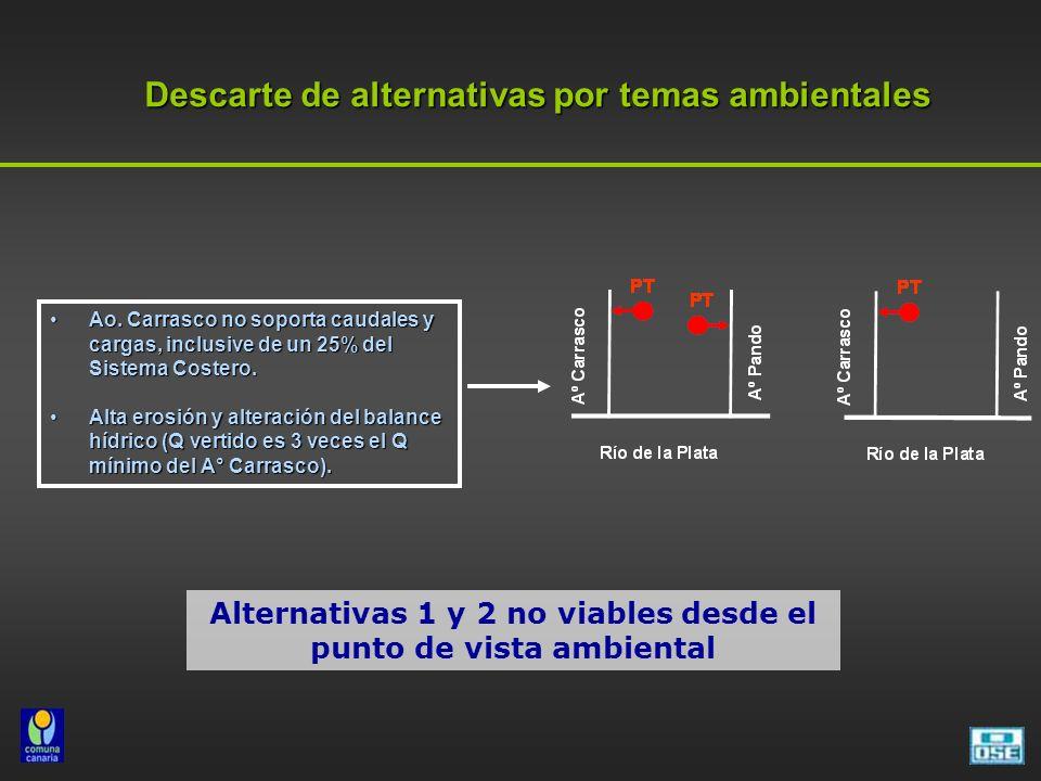 Descarte de alternativas por temas ambientales Ao. Carrasco no soporta caudales y cargas, inclusive de un 25% del Sistema Costero.Ao. Carrasco no sopo