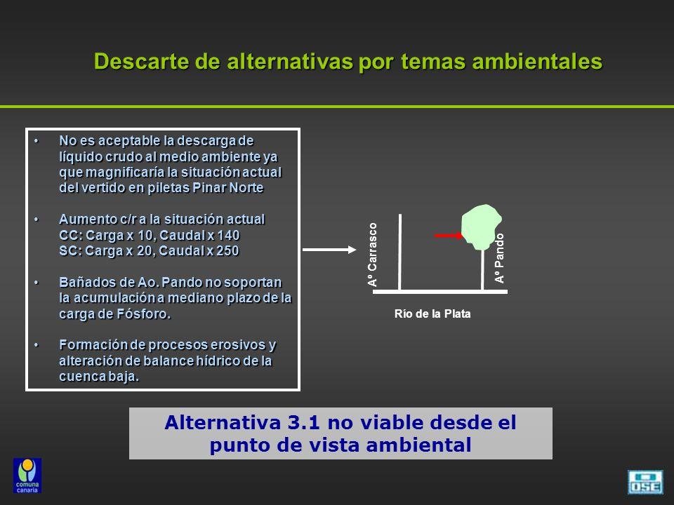 Descarte de alternativas por temas ambientales No es aceptable la descarga de líquido crudo al medio ambiente ya que magnificaría la situación actual