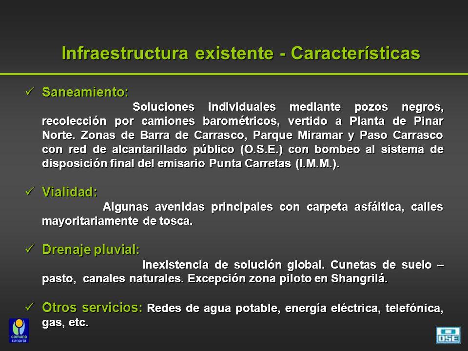 Infraestructura existente - Características Saneamiento: Saneamiento: Soluciones individuales mediante pozos negros, recolección por camiones barométr